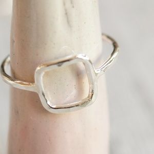 Open square ring sterling silver